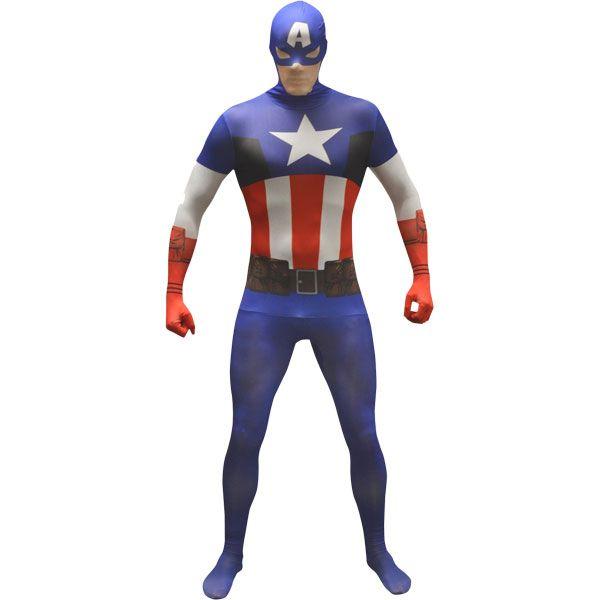 Superhelden Kostüm, Captain America, Rot Weiß Blau