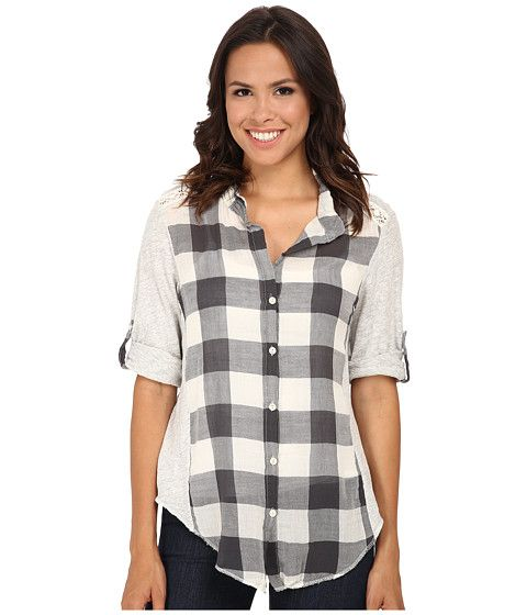 da0f9721d1 Dylan by True Grit Vintage Buffalo Check Roll Sleeve Blouse ...