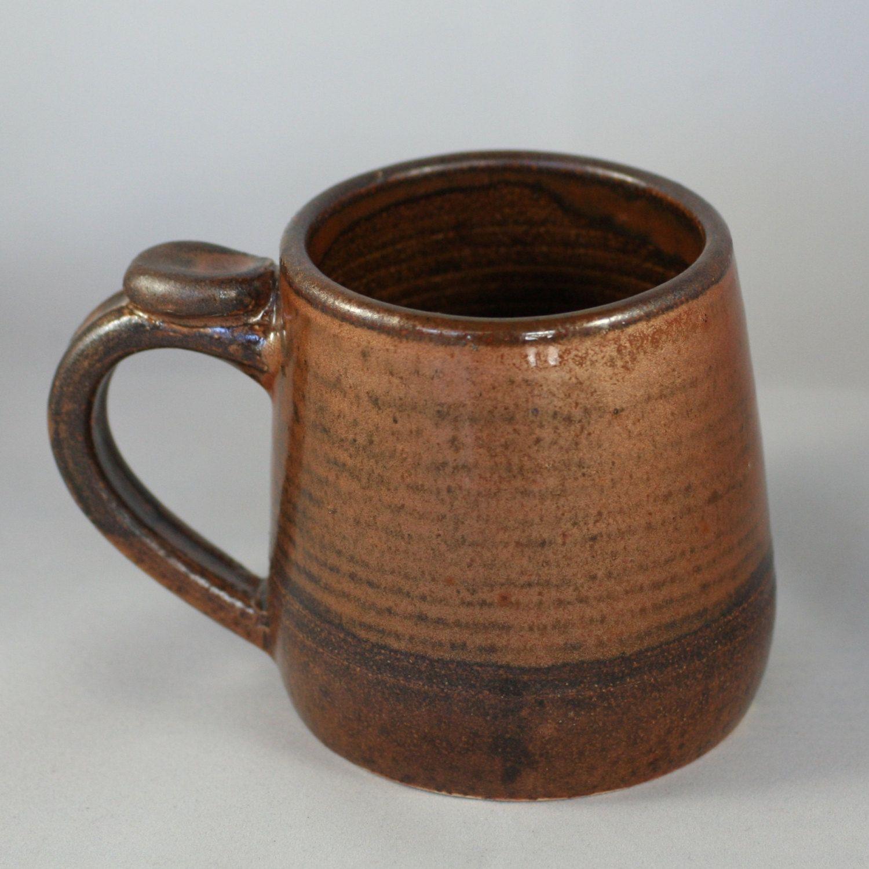 Stoneware pottery mug copper glaze and thumb rest small