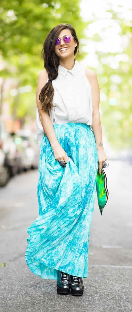 Teal Turquoise Tie Dye Maxi Skirt