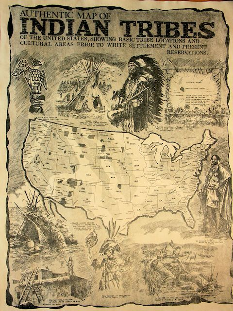 Historic Reproduction Map Of The Indian Tribes Of The United - Map of indian nations in the us