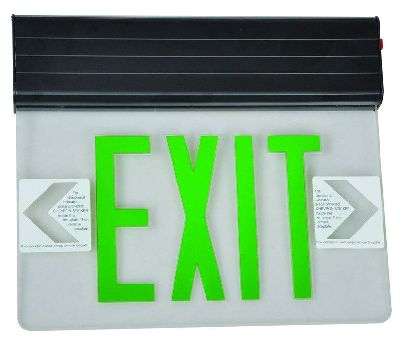 Surface Mount Edge Lit Led Exit Signs Green On Clear Panel Black