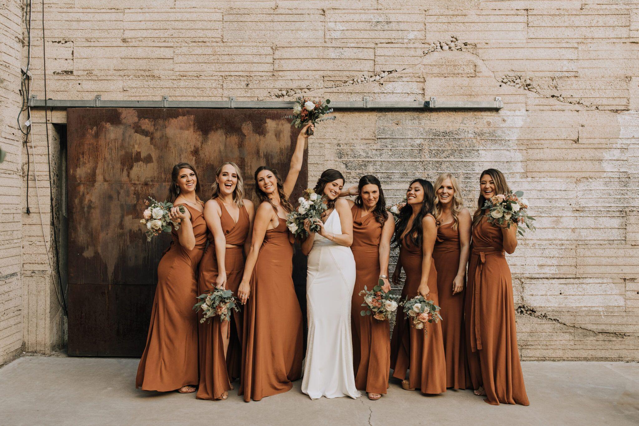 Phoenix Fall Wedding At The Icehouse Arraydesignaz Com In 2020 Fall Bridesmaid Dresses Orange Bridesmaid Dresses Wedding Bridesmaid Dresses