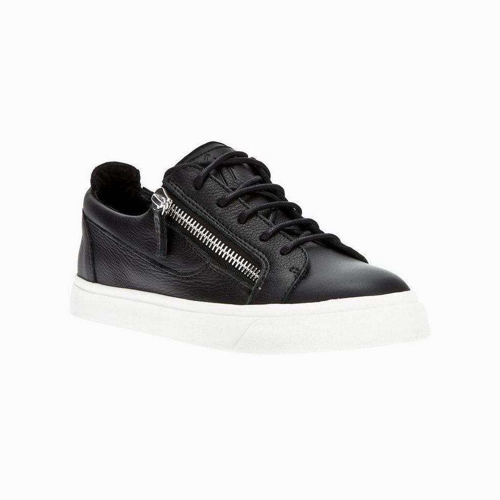 Giuseppe Zanotti Mens Low Cut Zip Leather Sneakers In Black Model:  gzmenshoes041 580 Units in