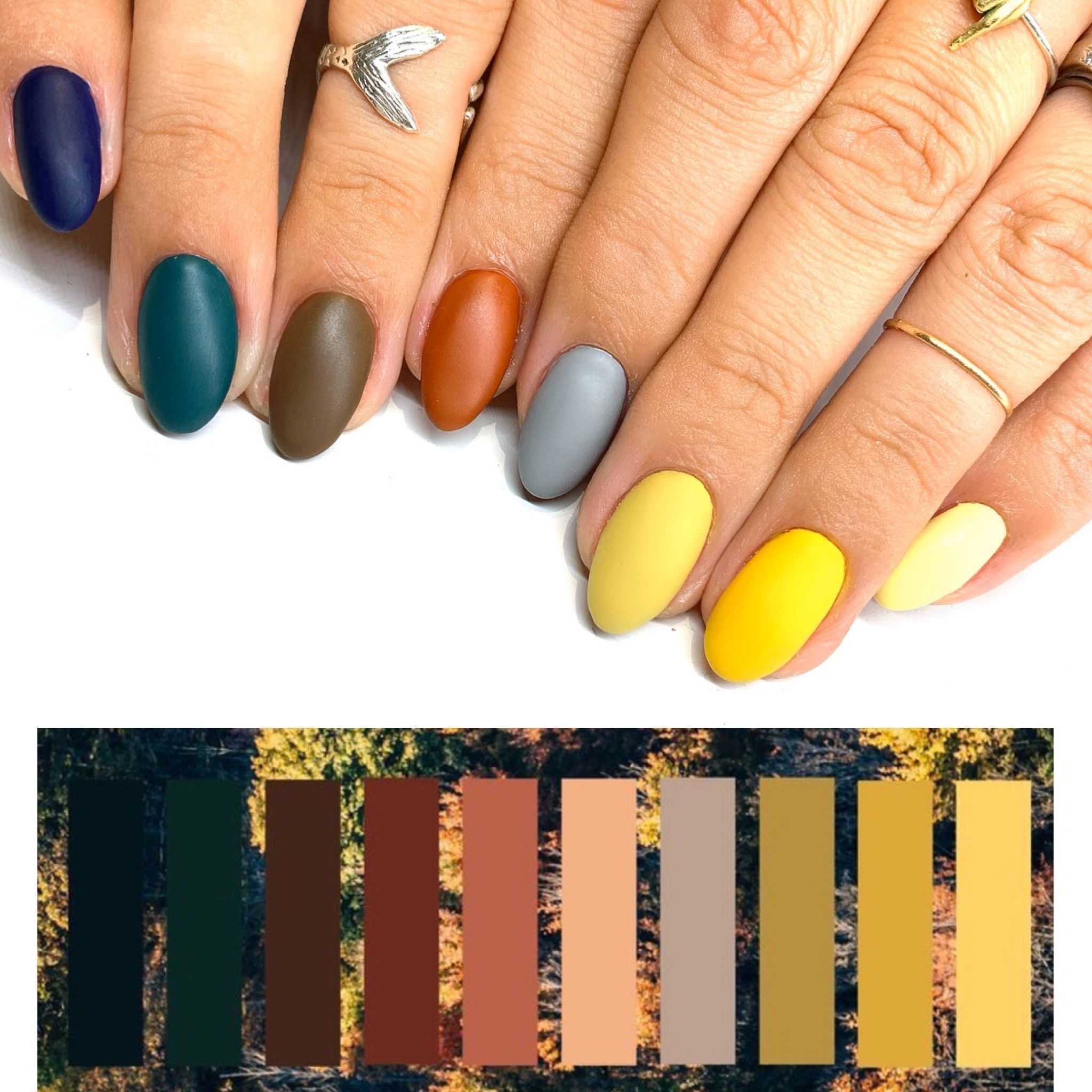 A Matte Fall Color Scheme Manicure These Matte Colors Look So Amazing Together And The Most Fall A Manicure Can Ge Best Nail Salon Nails Fall Nail Art Designs