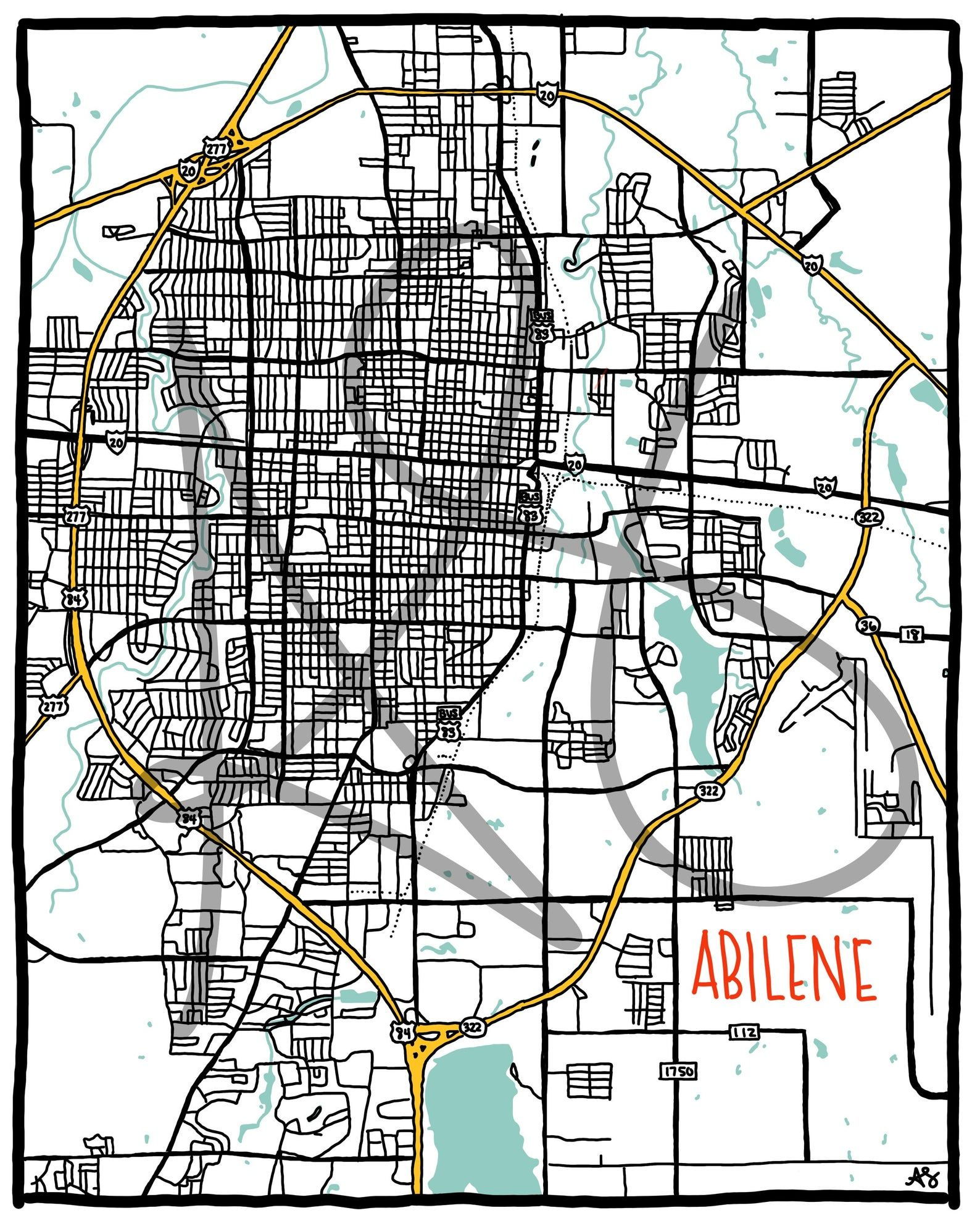 Abilene Texas City Map Digital Print Instant Download Etsy In 2020 City Map Artwork Texas Map With Cities City Map Art