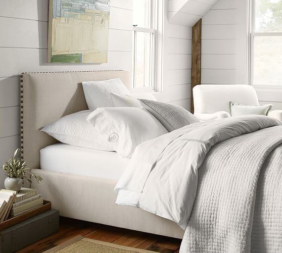 Raleigh Upholstered Square Low Bed Headboard Pottery Barn Get