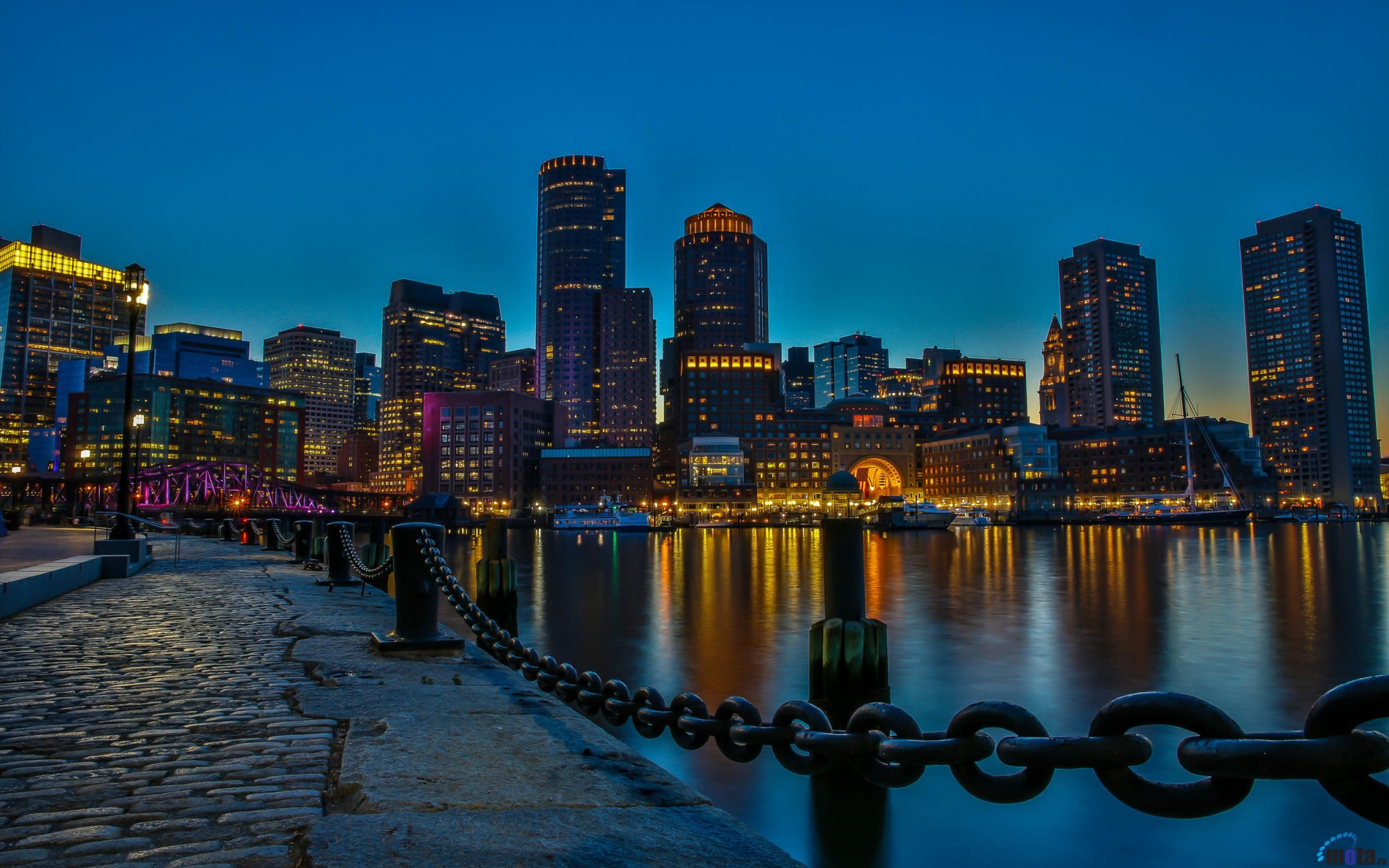 Обои для рабочего стола Ночной Бостон, Массачусетс, США (с ...