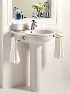 Small Powder Room Pedestal Sink Shelf   Google Search