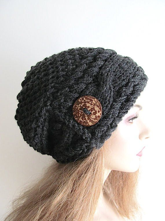 1de58a69440 Slouchy Beanie Slouch Cable Hats Oversized Baggy Beret Button womens fall  winter accessory Dark Heat