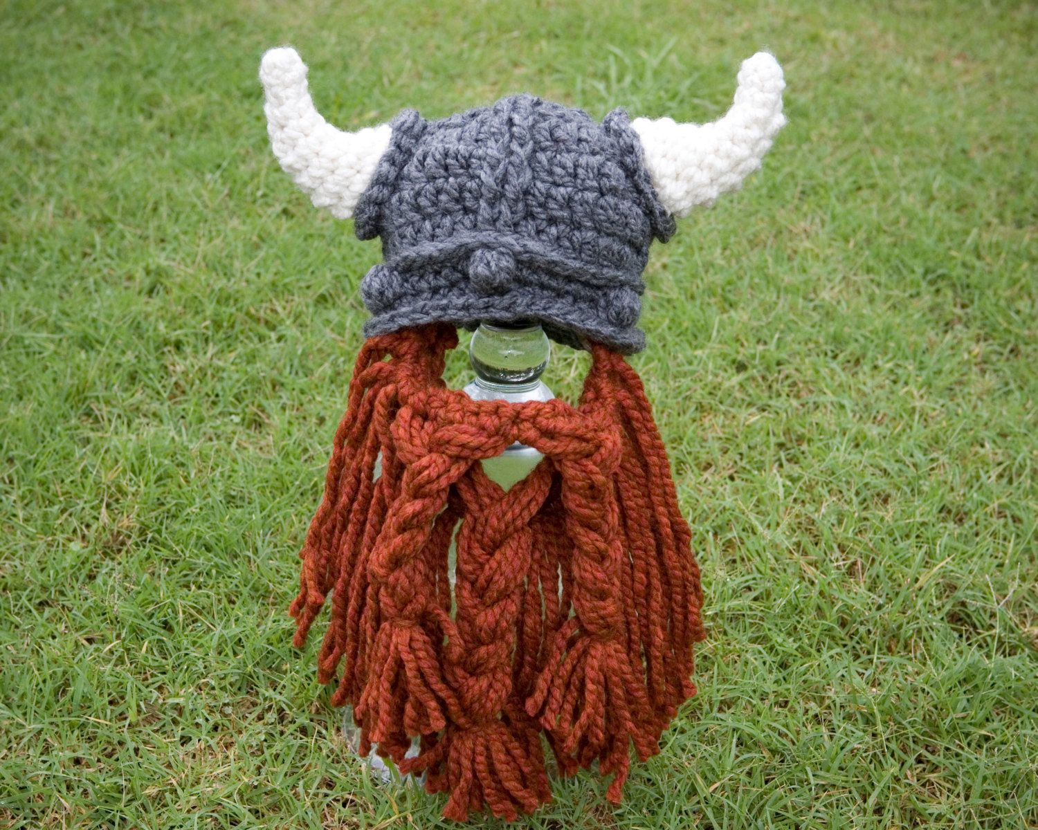 childrens knit hat with beard jewelry