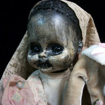 Creepy Christmas Prop Altered Art Doll Holiday Horrible Patti Cakes Merry Monster OOAK Goth