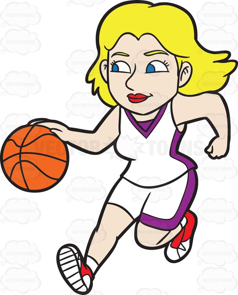 A Female Basketball Player Dribbling A Basketball Down The Court Vector Graphics Vectortoons Com Basketball Players Basketball Players