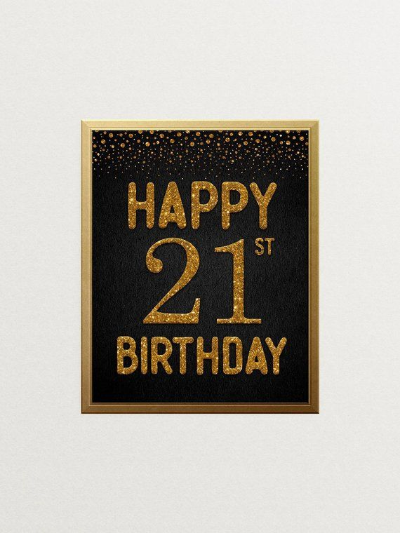 Happy 21st Birthday Sign, Cheers to 21 Years, 21st Anniversary Sign, Confetti Gold Birthday Party Decoration, Birthday décor #CH141 #21stbirthdaysigns