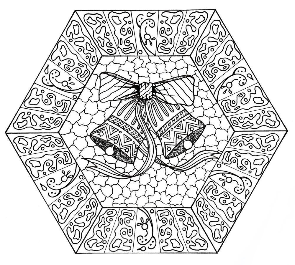 Jingle Bells Mandala Coloring Page Jingle Bells Christmas