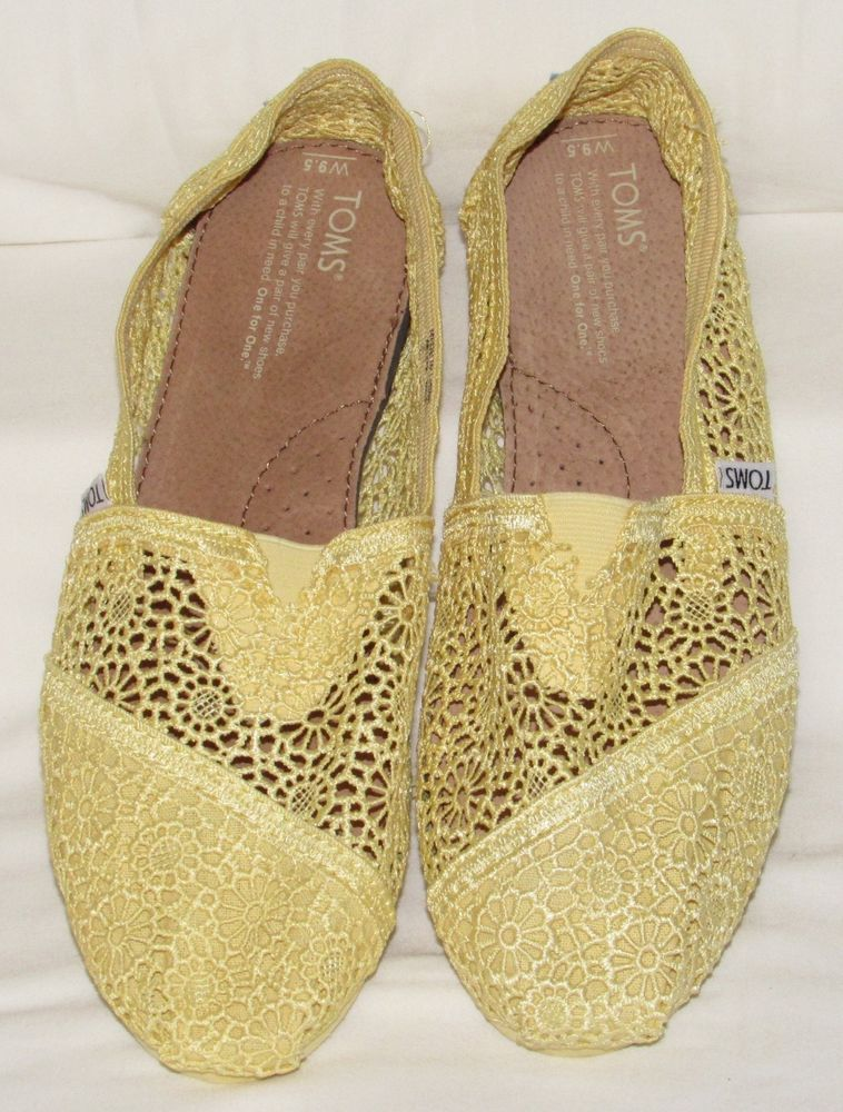 76fd17c60c1 Toms womens Shoes 9.5 W Yellow Lace Crochet Flats Boho Hippie  Toms   EspadrilleFlats