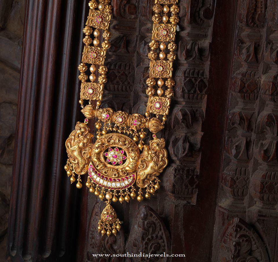 Indian Antique Temple Jewellery Haram Design Indian jewelry Jewel