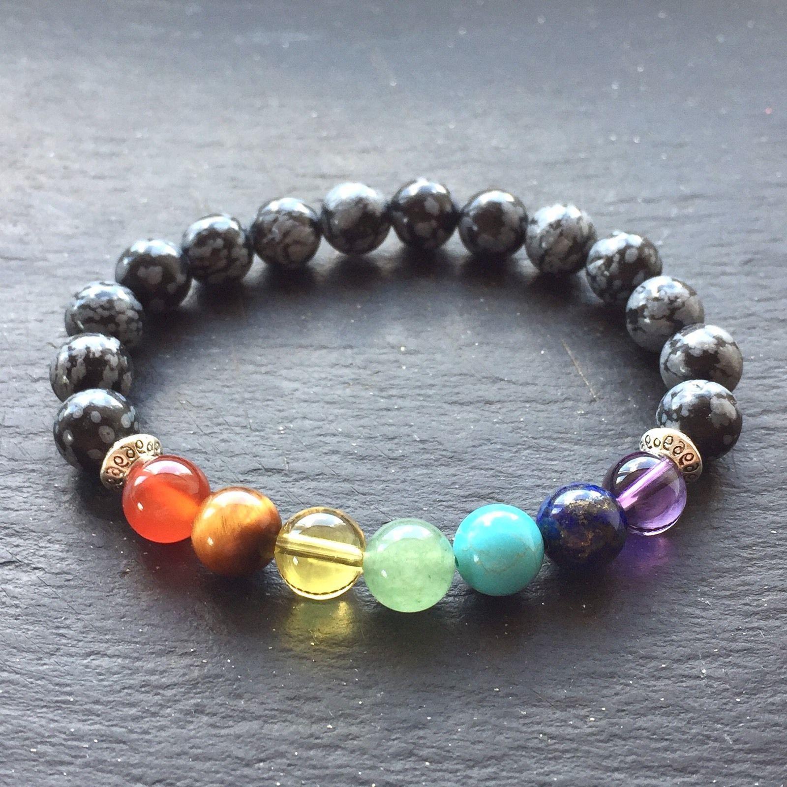 7 Chakra Bracelet With Snowflake Obsidian Beads Natural Beautiful Gemstones Uk
