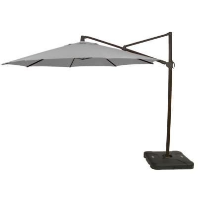 Hampton Bay 11 Ft Aluminum Cantilever Tilt Patio Umbrella In Cushionguard Pewter With Black Pole 9119 01524800 The Home Depot Patio Umbrella Offset Patio Umbrella Outdoor Patio Umbrellas