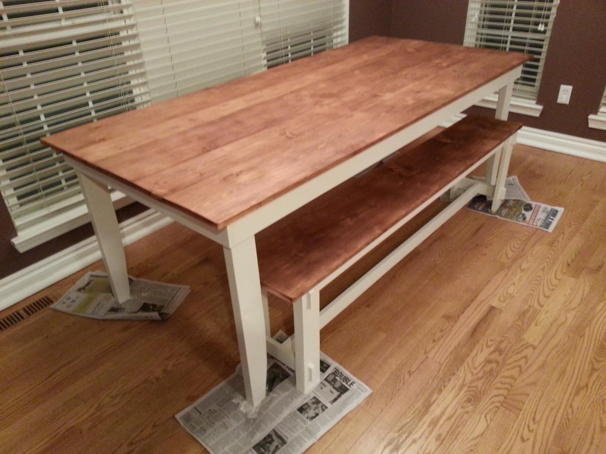 Rustic Table And Bench  Minwax Honey Stain  Wood Finishes Magnificent Rustic Kitchen Tables Decorating Design