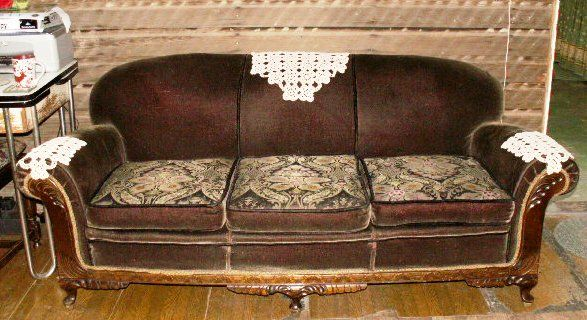 Antique Kroehler Mohair Sofa With Reversable Cushions