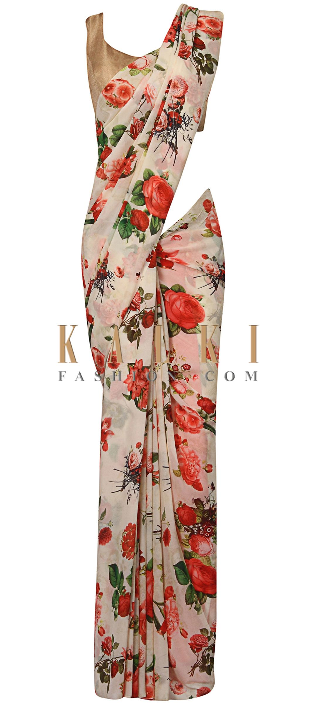 Cream And Red Floral Printed Saree In Rose Motif Only On Kalki Floral Print Sarees Floral Prints Fashion