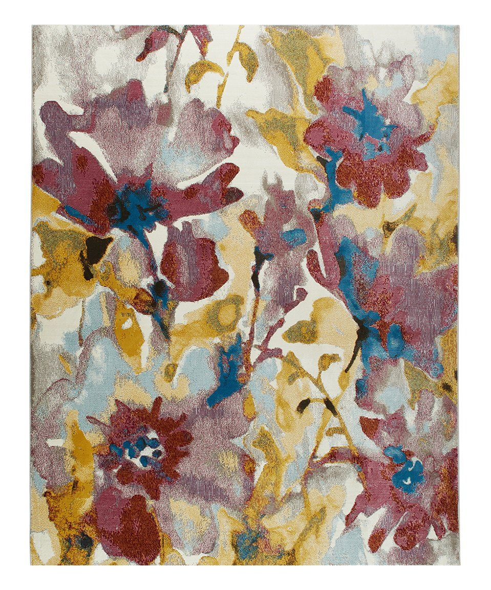 Take A Look At This Rust Goldenrod Watercolor Floral Parlin Rug