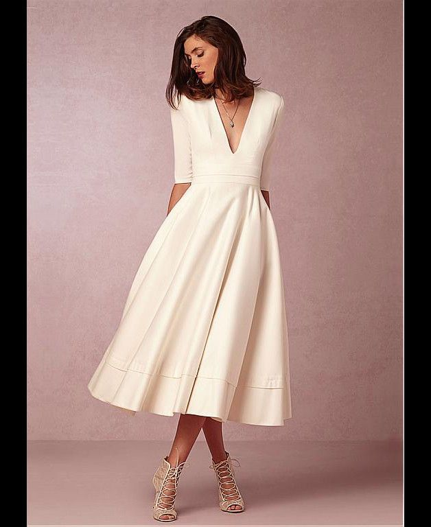 Brautkleider - V-Ausschnitt Tee Länge Brautkleider - ein ...