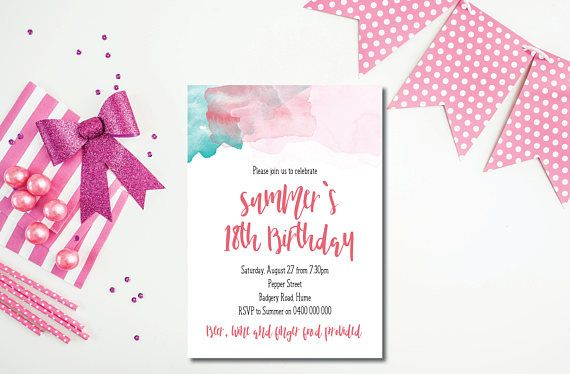 18th birthday invitation water colour watercolour dorothy alva 18th birthday invitation water colour watercolour filmwisefo Image collections