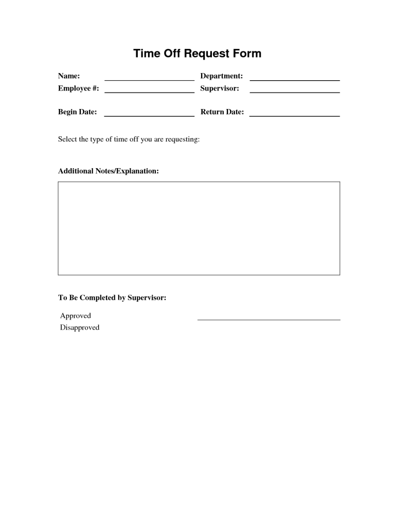 Time Off Request Form 2 Time Off Request Form Word Template Templates