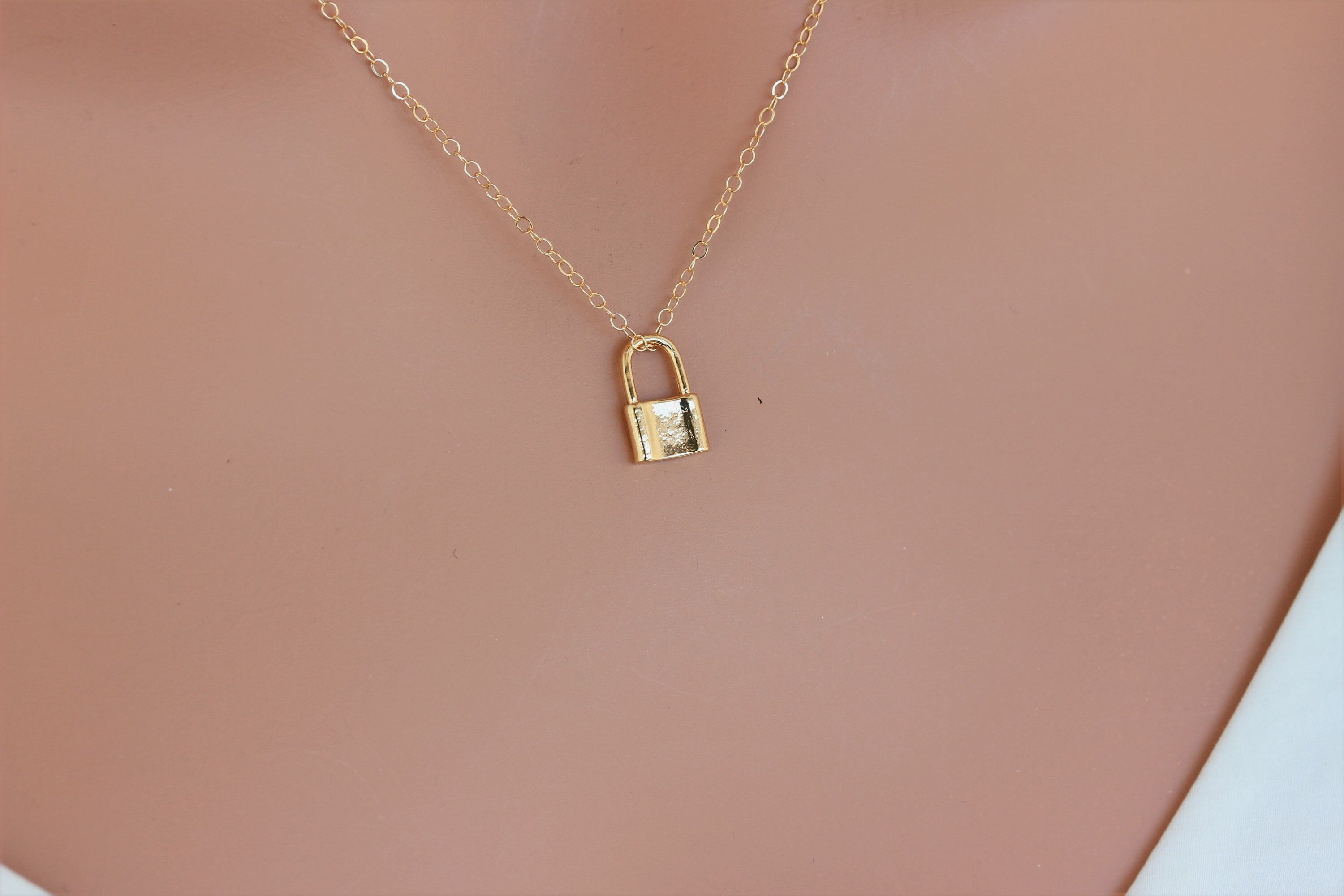 Gold Lock Necklace Tiny Lock Necklace Lock Layering Etsy In 2021 Lock Necklace Padlock Necklace 14k Gold Filled Necklace