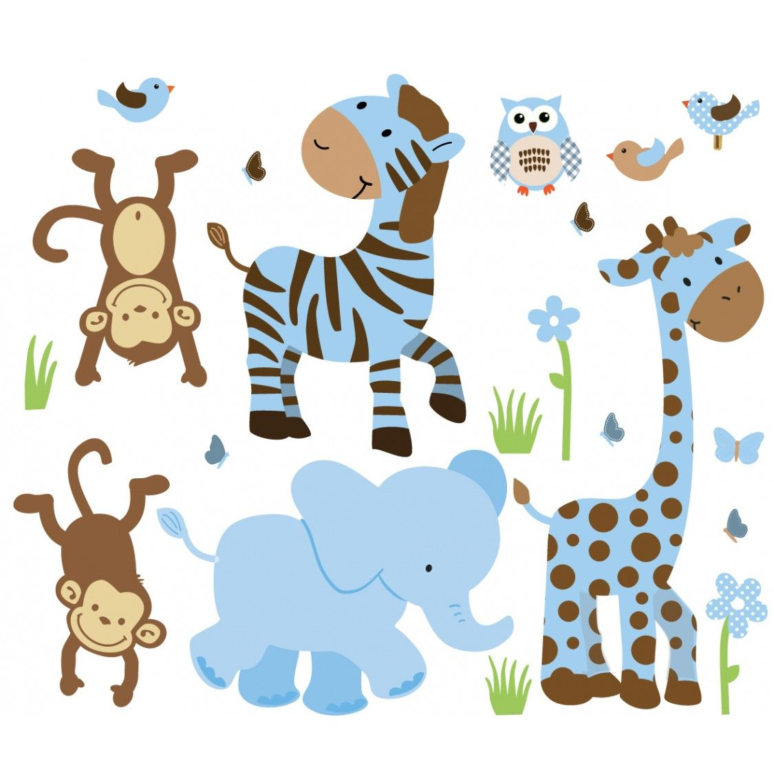 Wild Animals Little Boy Blue Animal Wall Decals Jungle Baby Shower Decorations Jungle Wall Decals Baby Prints