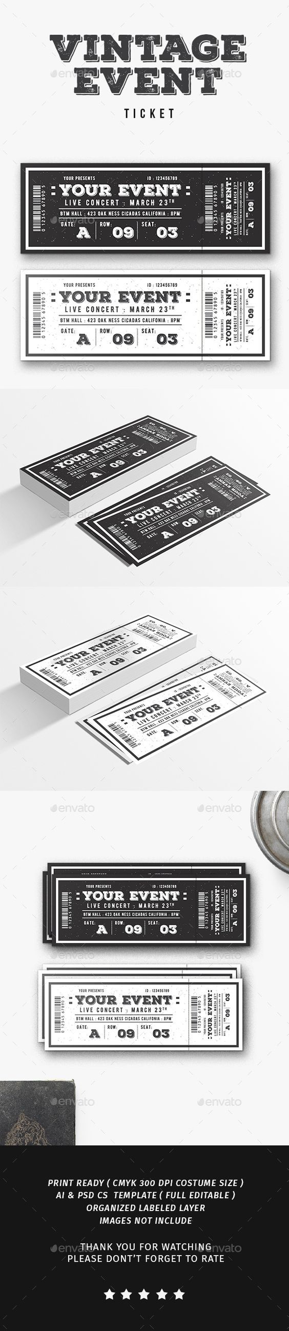 Concert Ticket Template Free Download Impressive Vintage Event Ticket  Event Ticket