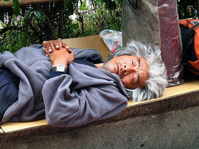 Japan 2005 Tokyo: an homeless near Shinjuku station