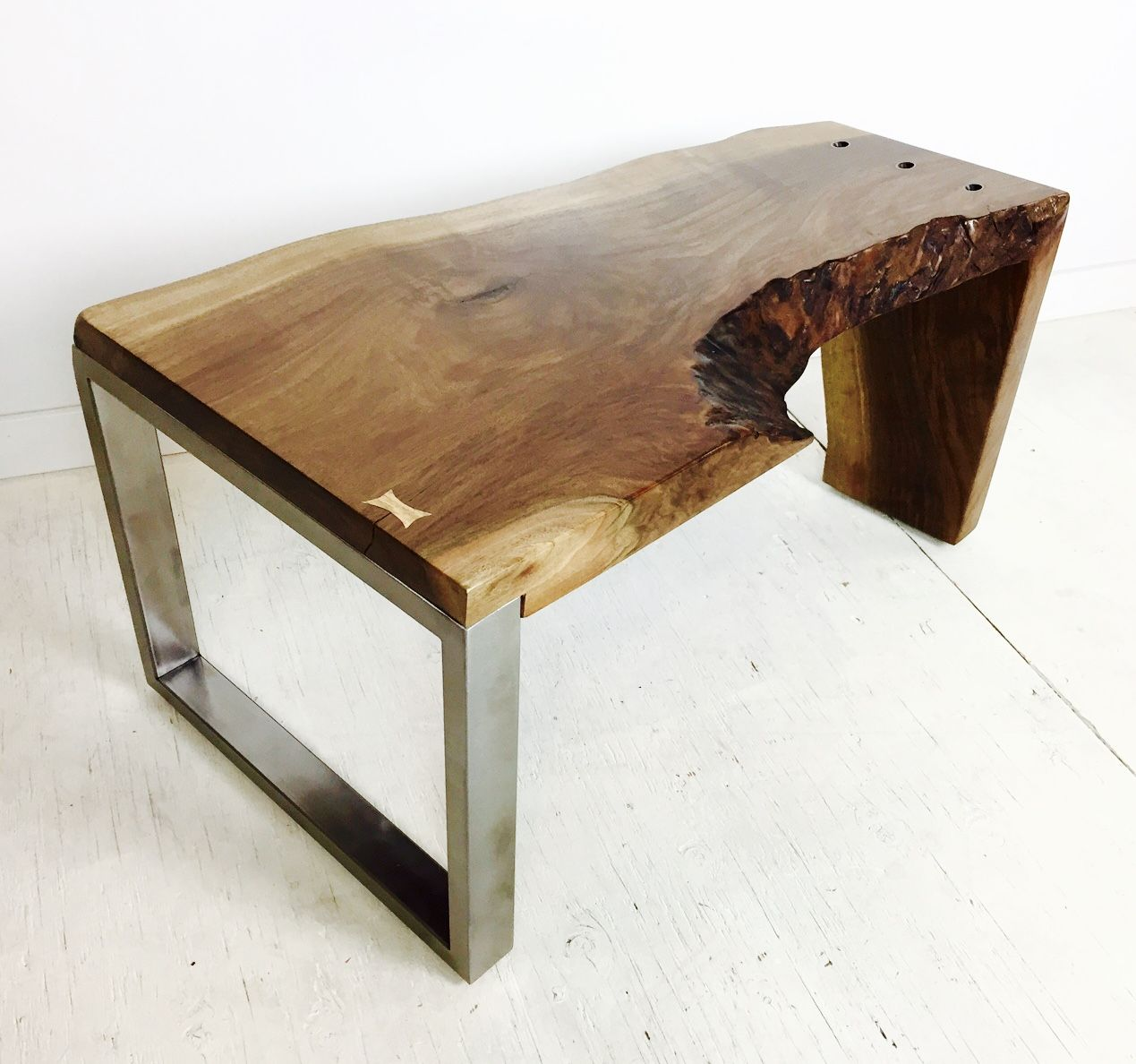 Live Edge Walnut Slab Waterfall Coffee Table Hand Crafted Furniture Steel Table Branch Furniture [ 1188 x 1269 Pixel ]