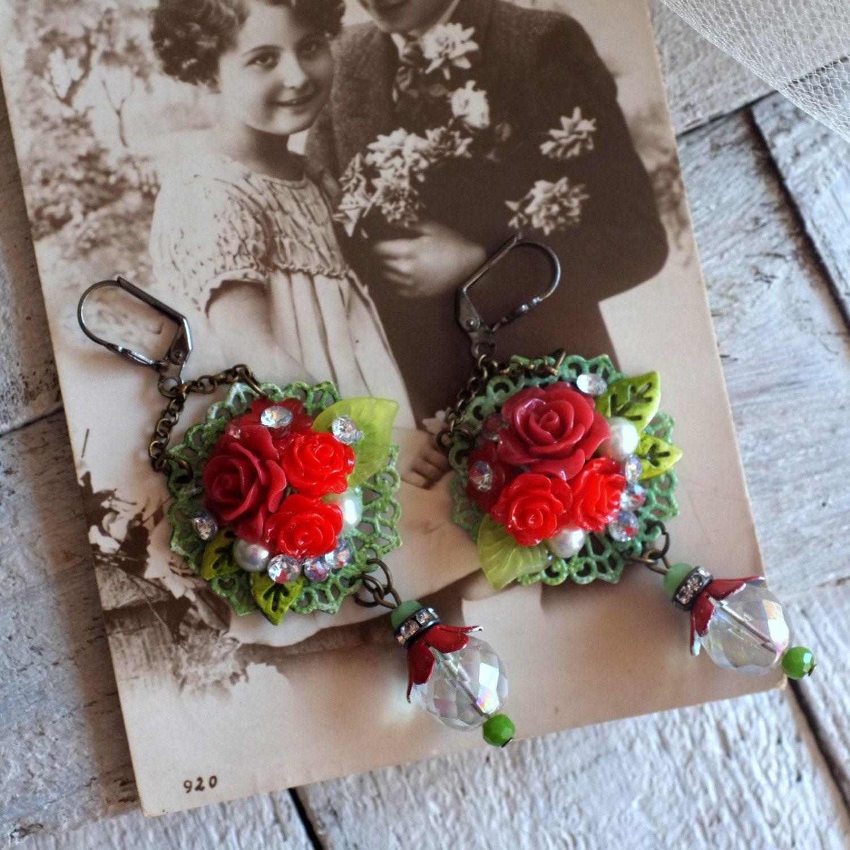 Fashion Designideas: Red Roses Chandelier Long Crystal Green Vintage Metal