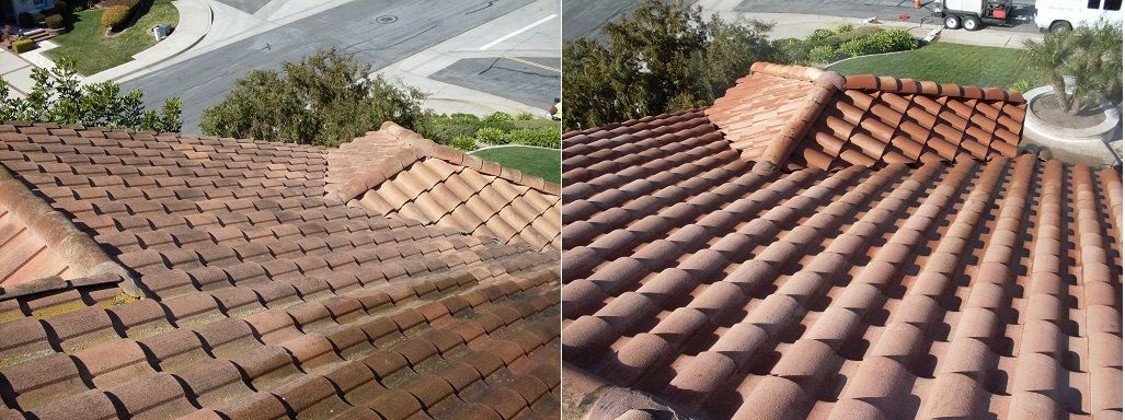 Spanish Tile Roof Before After Pressure Washing Steam Cleaning Pressure Washing Curb Appeal Roof Cleaning