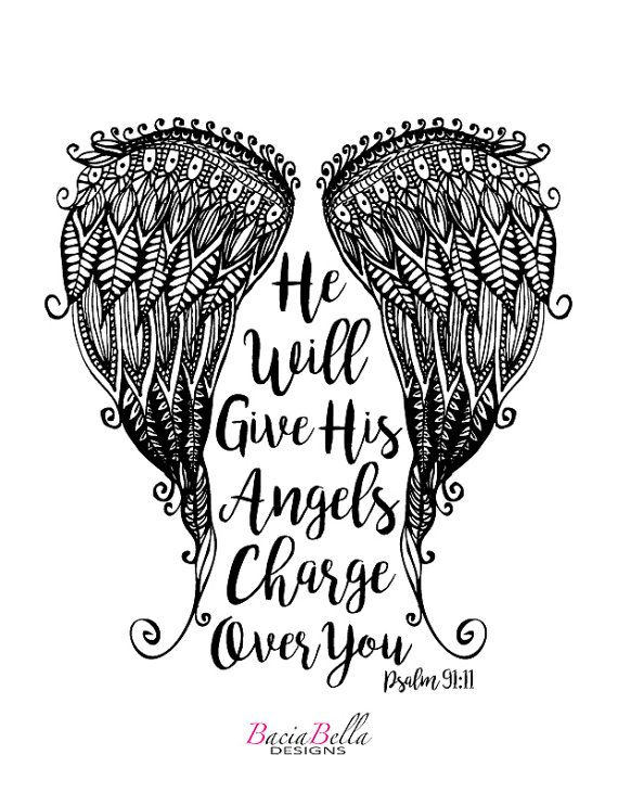 Angel Wings Psalm 91 11 Adult Coloring Page He Will Give His
