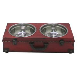 """Bring antiqued style to mealtimes with this distressed pet diner, featuring 2 bowls and a suitcase-inspired design.    Product: Pet dinerConstruction Material: Wood and metalColor: Red, black and silverFeatures:  Includes two bowlsSuitcase-inspired designDistressed finishDimensions: 4.75"""" H x  18.25"""" W x 8.75"""" D"""