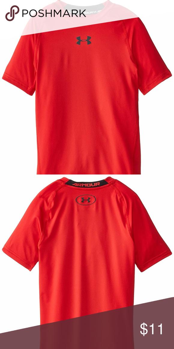 d83b0e414d Under Armour Boys HeatGear Armour Short Sleeve Fit Boys' UA HeatGear ...