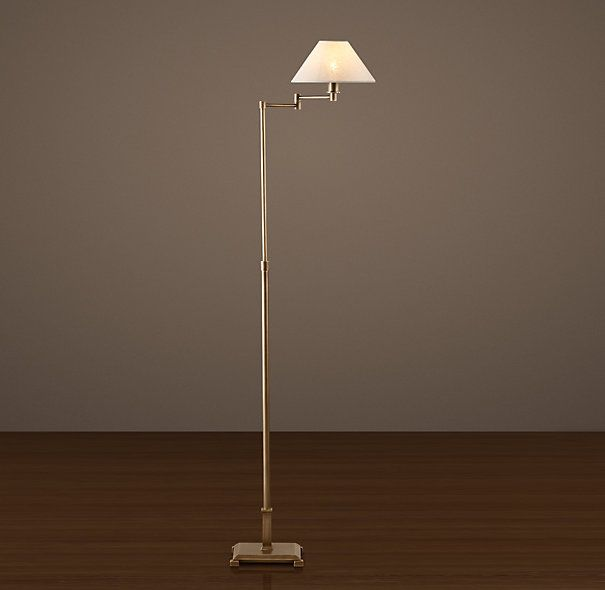 Candlestick Swing Arm Floor Lamp Vintage Brass With Linen Shade |  Restoration Hardware   Floor