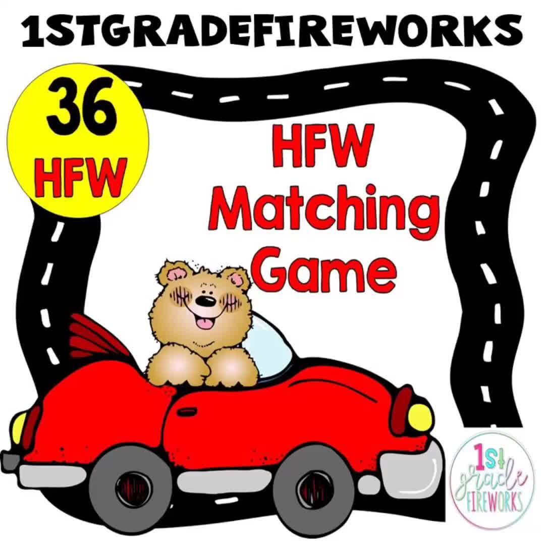 High-Frequency Word ( Sight Word) matching game. 2 of each card for matching. Animals in cars! Fun