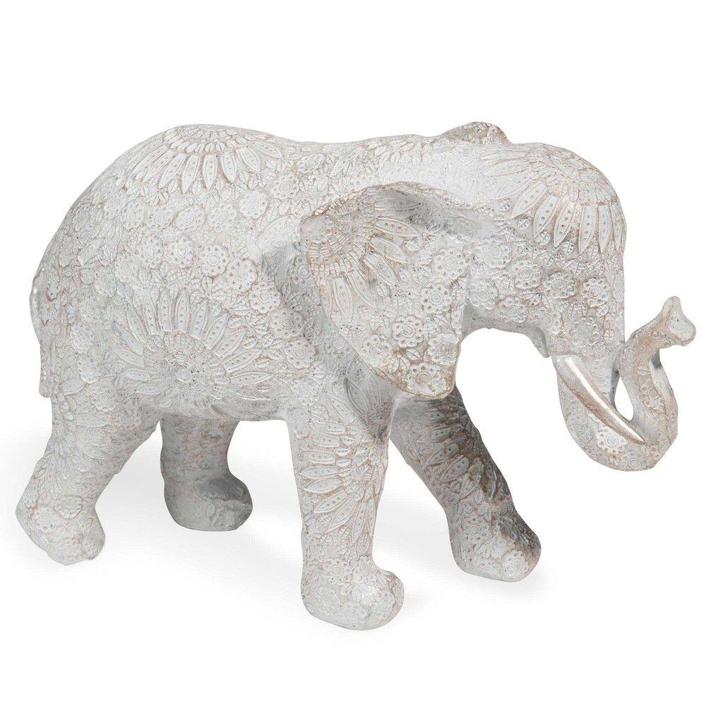 Statuette éléphant effet blanchi H.19cm   Bedrooms
