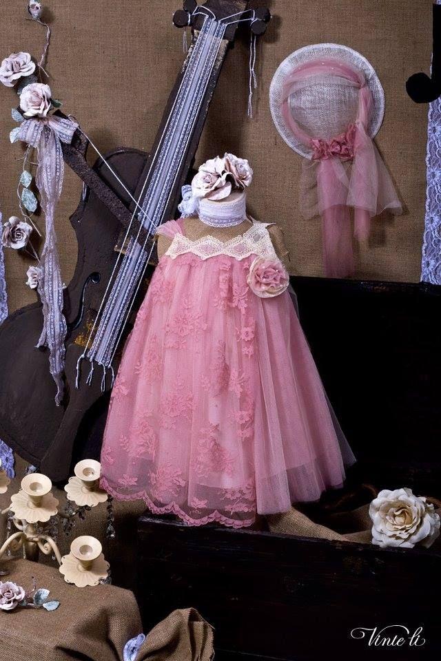 Ρομαντικό βαπτιστικό φόρεμα Vinte li  c4998df62bf