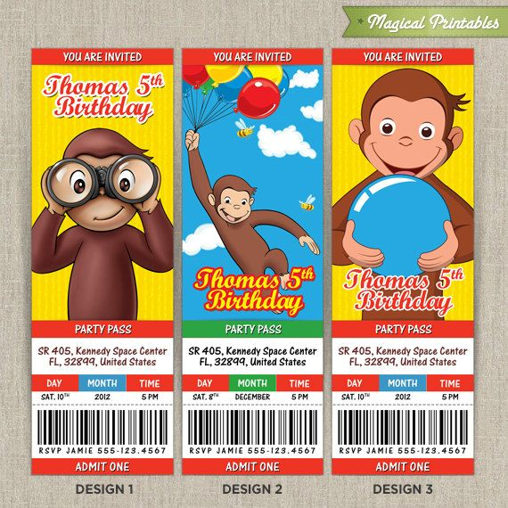 Personalized CURIOUS GEORGE Birthday Ticket Invitation Card – Curious George Birthday Cards