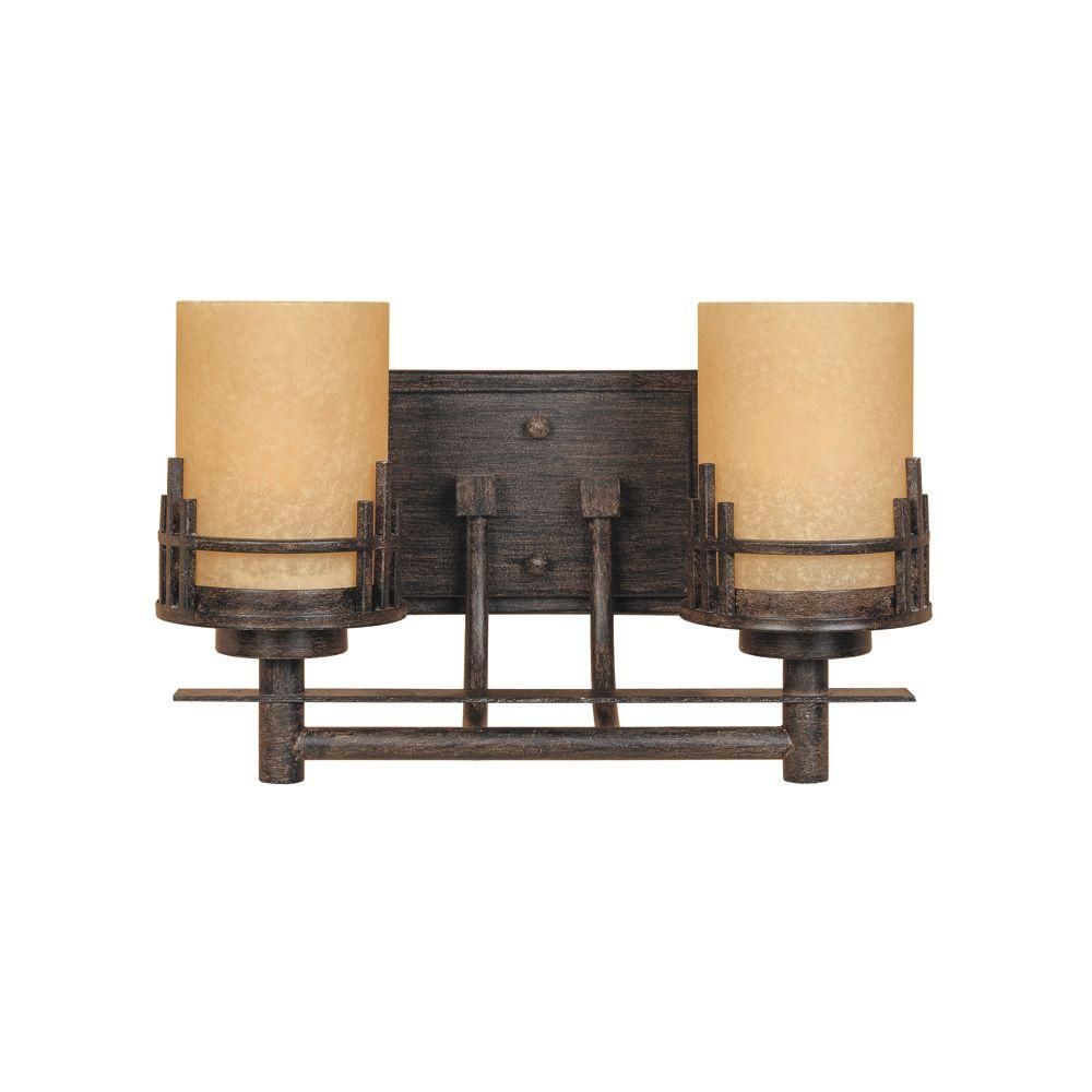 Designers Fountain Mission Hills Collection 2-Light Warm Mahogany Wall  Mount Vanity Light