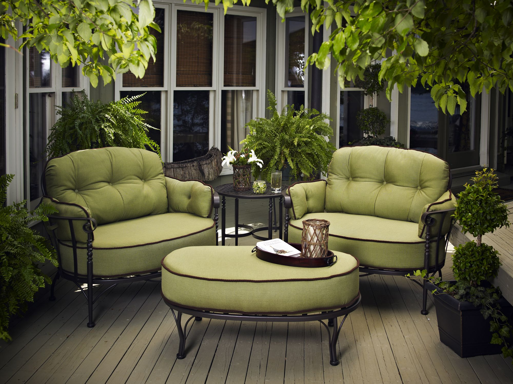 Meadowcraft Athens Deep Seating Wrought Iron Cuddle Lounge