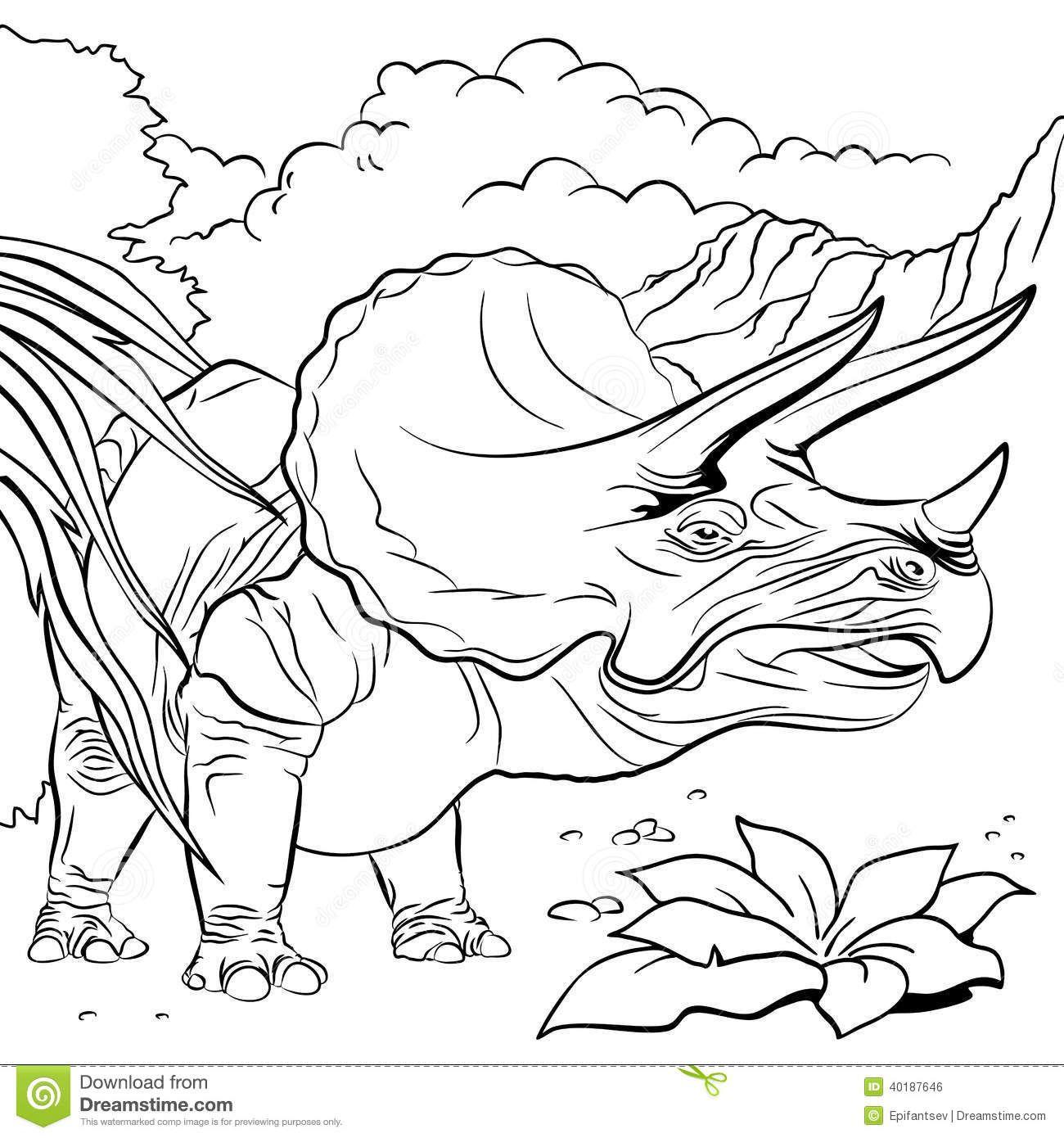 Dinosauro Del Triceratopo Per Il Libro Da Colorare Illustrazione