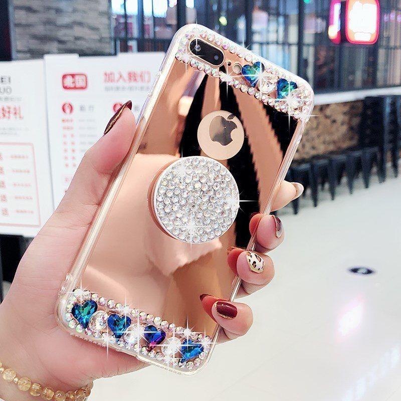 Diamond crystal diamond mirror pop socket phone case for