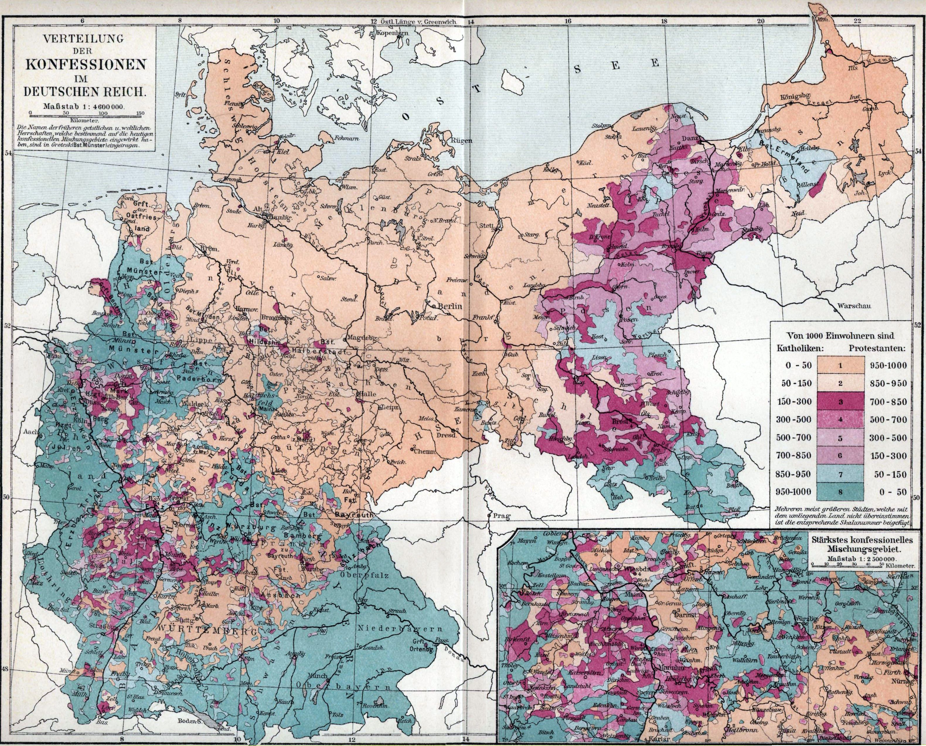1890s Map Of Distribution Of Catholics And Protestants In The